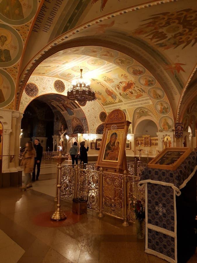 Transfiguratiekerk van de Kathedraal van Christus de Verlosser De decoratie van de Lagere Tempel gebruikte elementen van oud stock fotografie
