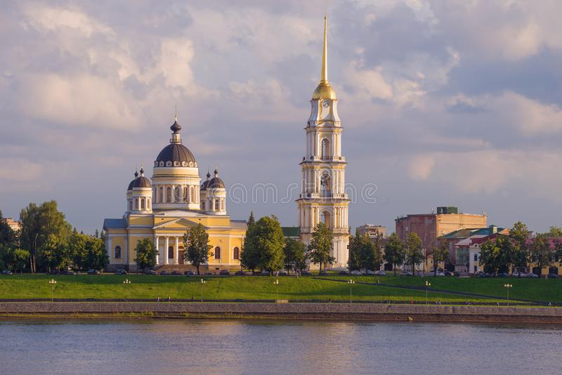 Transfiguration Cathedral on the banks of the Volga river royalty free stock photos