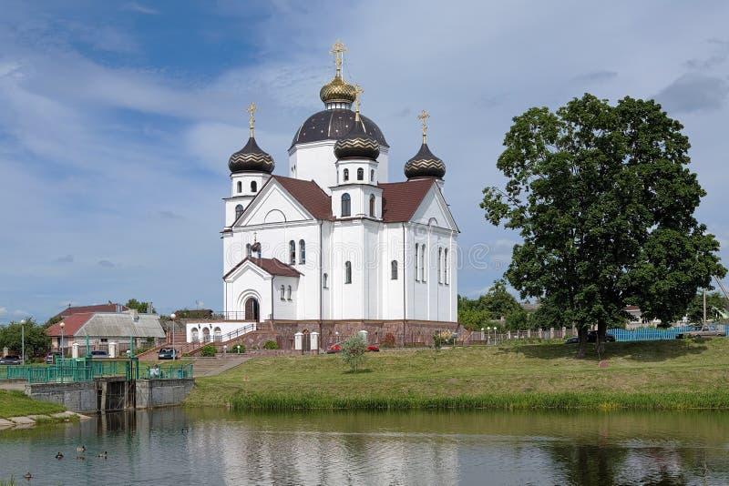 Transfiguration Cathedral in Smorgon, Belarus. Orthodox Transfiguration Cathedral on the shore of Oksna river in Smorgon, Belarus royalty free stock image