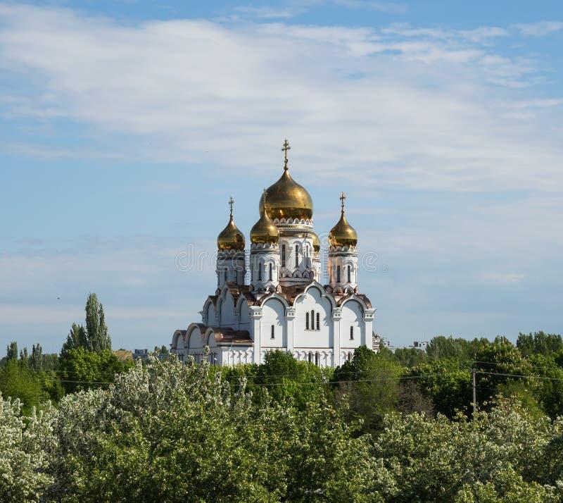 Transfiguration Cathedral in Togliatti. The biggest Orthodox church in Samara region royalty free stock image