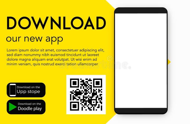 Transfira nosso app móvel novo ilustração stock