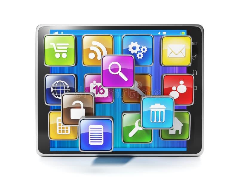 Transfira o app móvel para seu aypad. Ícones sob a forma do móbil ilustração stock