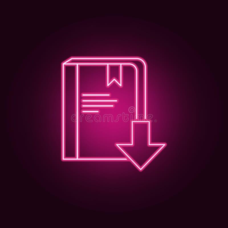 transfira um ícone do livro Elementos dos livros e dos compartimentos nos ícones de néon do estilo Ícone simples para Web site, d ilustração royalty free