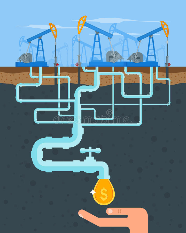 Transform oil to money concept. Get cash from pipe. Fuel pumps. Vector illustration in flat style. Gasoline and gas vector illustration