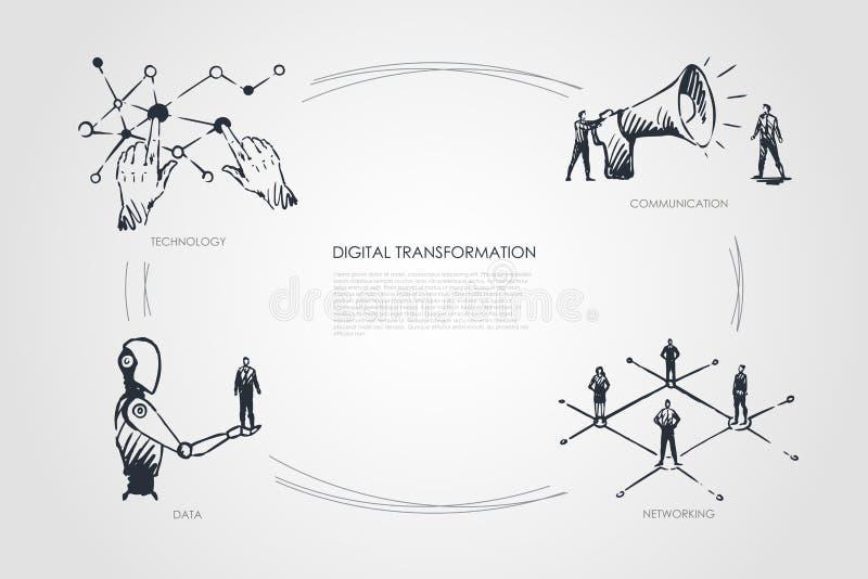 Transformação de Digitas, tecnologia, uma comunicação, trabalhos em rede, conceito dos dados ilustração royalty free