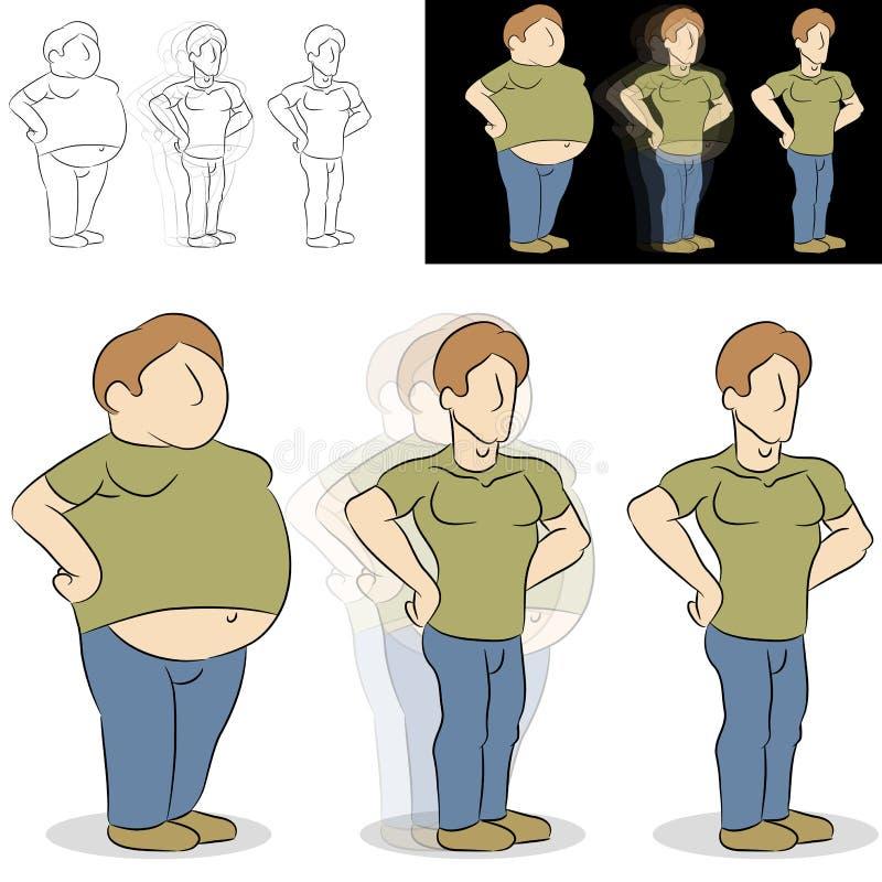 Transformação perdedora do peso do homem ilustração royalty free