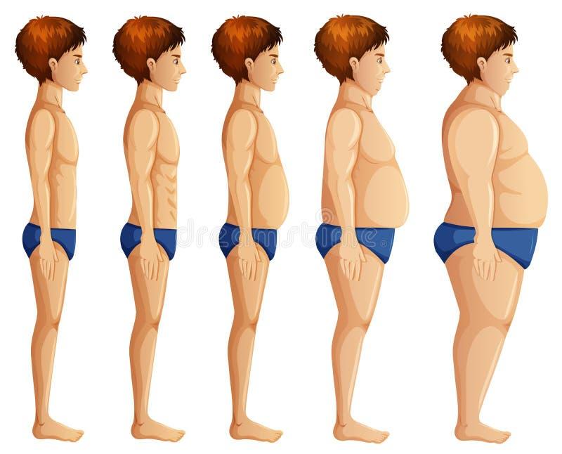 Transformación del cuerpo del hombre en el fondo blanco libre illustration