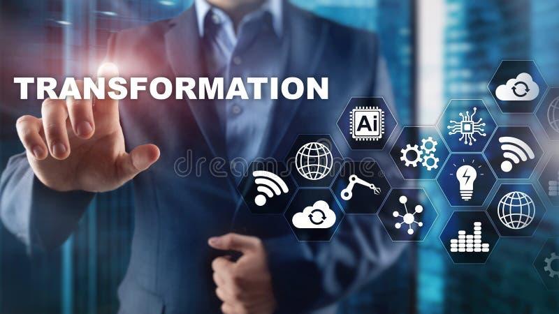 Transformación del negocio Futuro y concepto de Internet y de la red de la innovación Fondo abstracto del asunto Técnicas mixtas foto de archivo