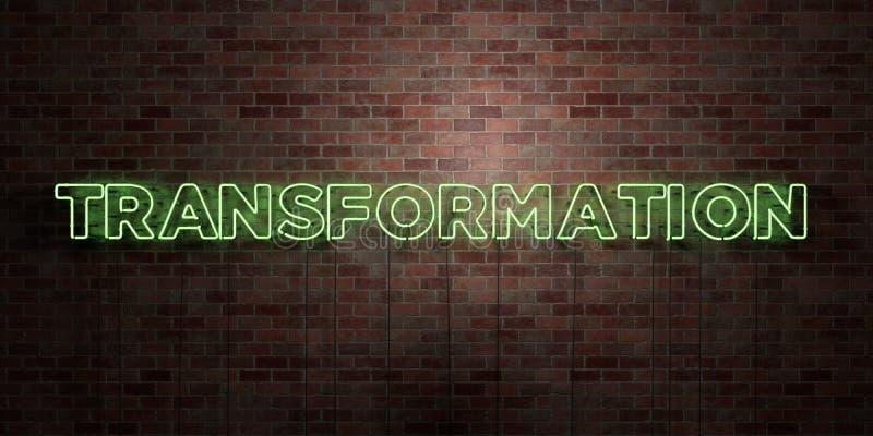TRANSFORMACIÓN - muestra fluorescente del tubo de neón en el ladrillo - vista delantera - imagen común libre rendida 3D de los de libre illustration