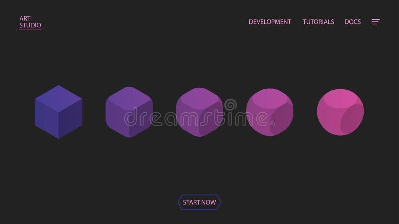 Transformación y evolución de un cuadrado en un círculo Composición isométrica del fondo para un sitio Fondo geométrico EPS10 v libre illustration