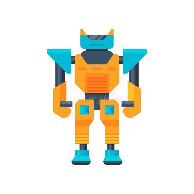 transformador Azul-anaranjado Robot fuerte del metal Guerrero del metal Vector plano para el cartel de la tienda de juguete o del libre illustration