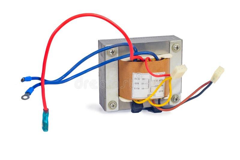 Transformadores de poder para proveer electrónico en el fondo blanco imágenes de archivo libres de regalías