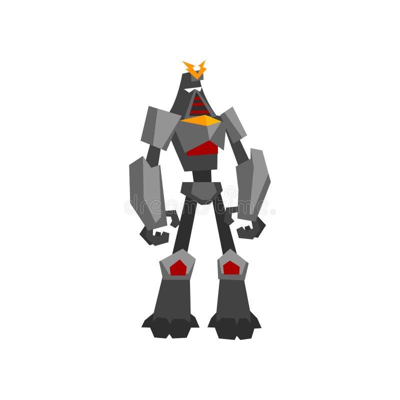 Transformateur fort en métal Monstre en acier mécanique avec des mains de griffe Intelligence artificielle Conception plate de ve illustration stock