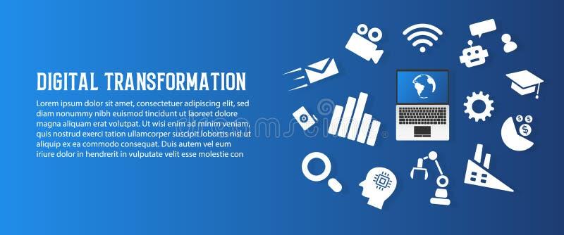 Transformation de Digital et fond de papier abstrait d'art de nouvelle technologie de tendance Intelligence artificielle et grand illustration de vecteur