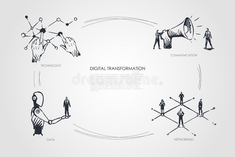 Transformation de Digital, technologie, communication, mise en réseau, concept de données illustration libre de droits