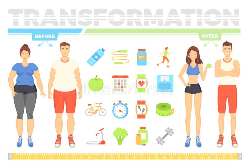 Transformation of People Before and After Vector stock illustration