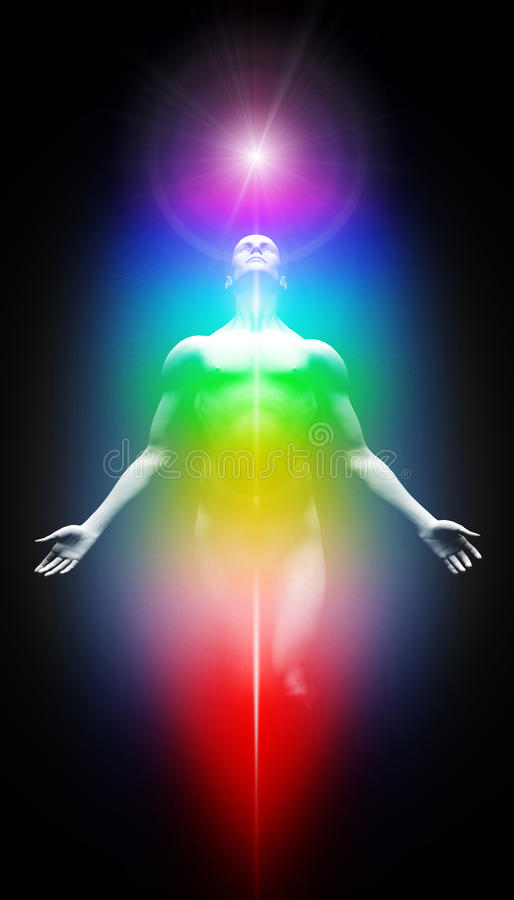 Transformation into light. Human body with seven energy centers and light stock illustration