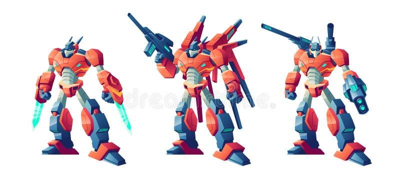 Transformatorów robotów kreskówki wektoru batalistyczny set ilustracja wektor
