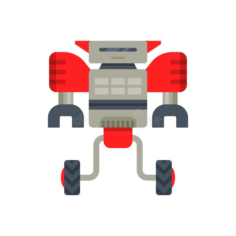 Transformator för stålröd-grå färger robot på två hjul Metallandroid med jordluckrarehänder Plan vektor för mobil videospel stock illustrationer