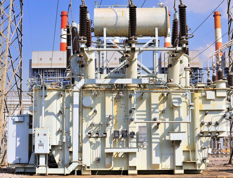 transformator för station för hög ström royaltyfria bilder