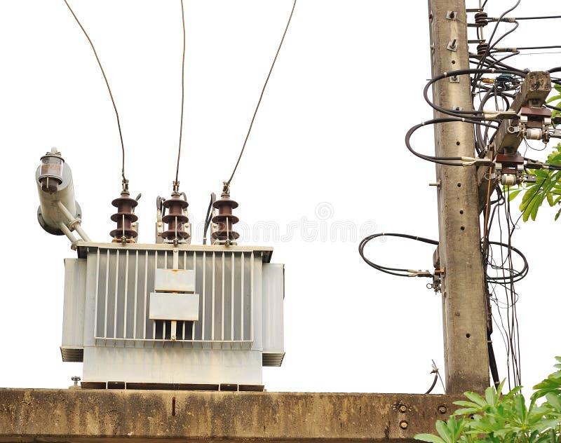 Transformator på station för hög ström fotografering för bildbyråer