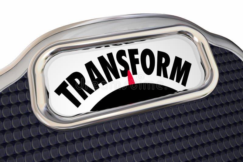 Transforme la dieta de la escala pierden el peso mejoran la transición de la salud stock de ilustración