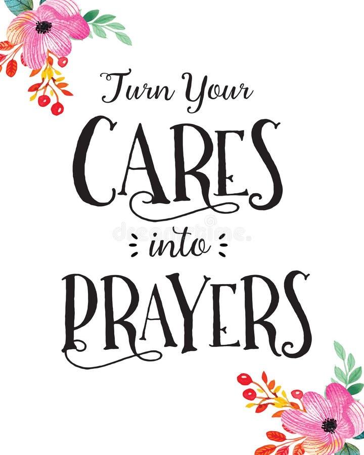 Transforme seus cuidados em orações ilustração stock
