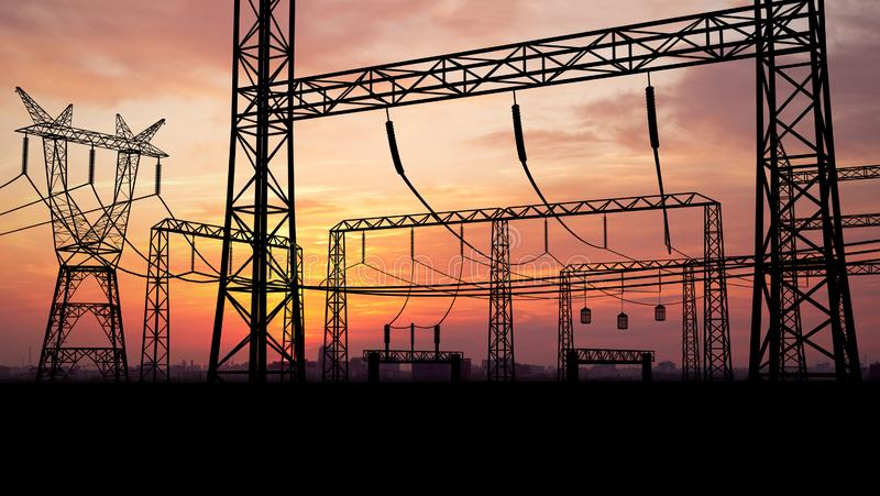 Transformer on Electricity Substation stock photo