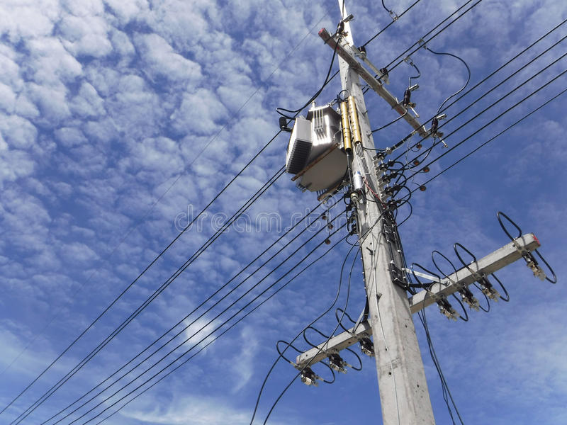 Transformer. And High Voltage Cables stock image