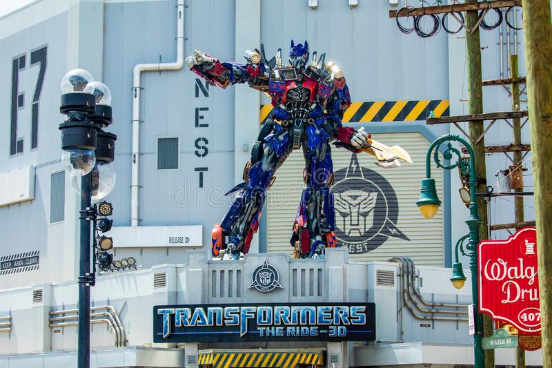 Transformer Optimus Prime. Universal Studios. Orlando. Florida. USA royalty free stock photo