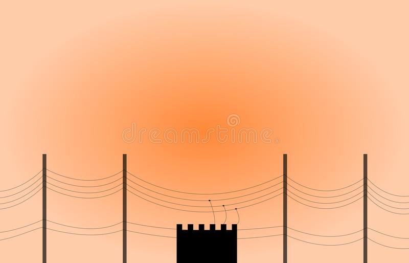 Transformer and Pole electric vector illustration
