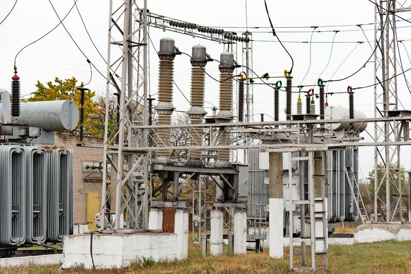 Transformer substation, high-voltage switchgear and equipment. royalty free stock images