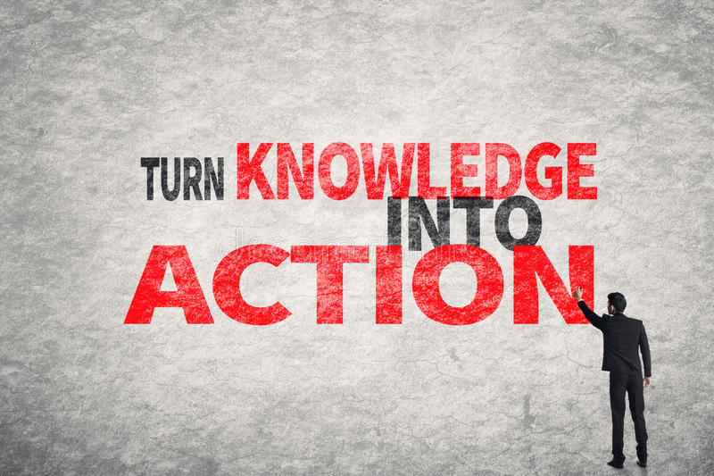 Transformez la connaissance en action image libre de droits