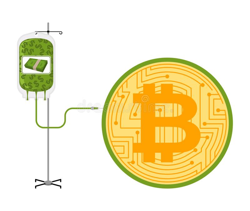 Transfusion av dollar i Bitcoin BTC-prisstigning Cryptocurrency prish?jning Aff?rsid? i crypto utbyte stock illustrationer
