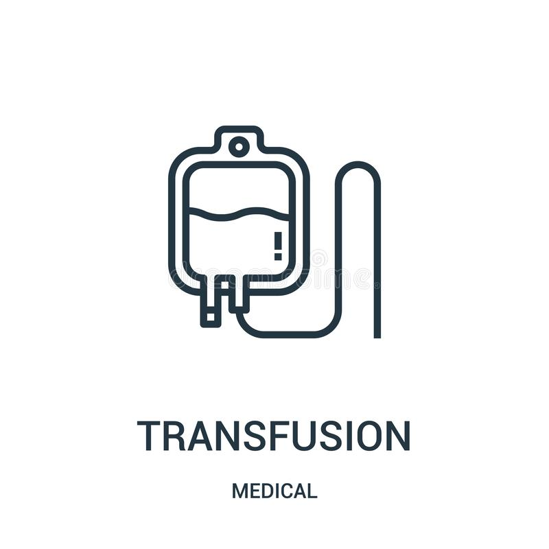 transfusion icon vector from medical collection. Thin line transfusion outline icon vector illustration. Linear symbol for use on vector illustration