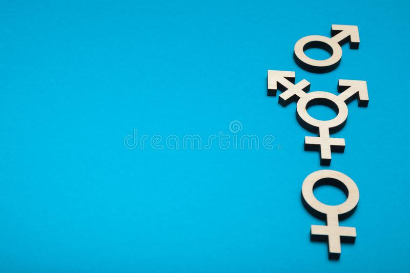 Transgender diversity, intersex activism. Bisexuality concept. Copy space for text.  royalty free stock photos