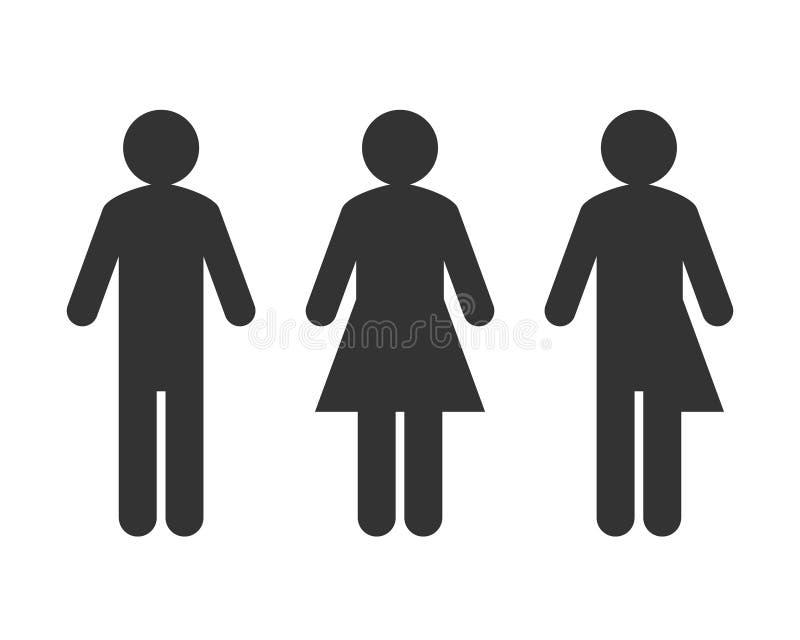 Transgender eller unisex- pictogrambegrepp stock illustrationer