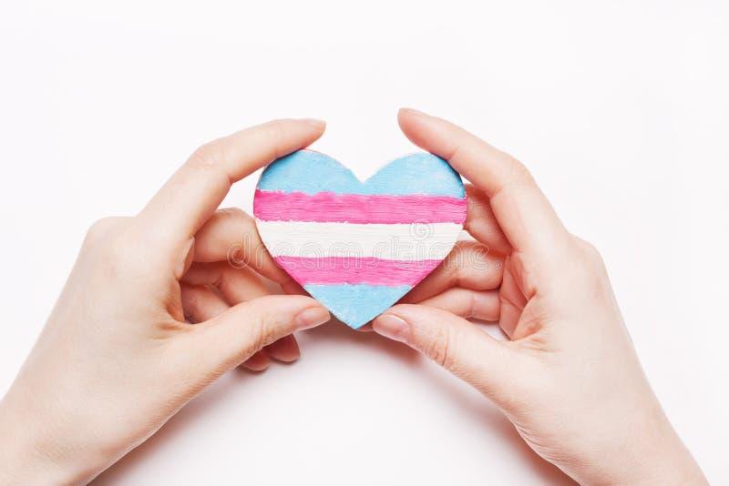 Transgender för hjärtafärgflagga i hand arkivfoto