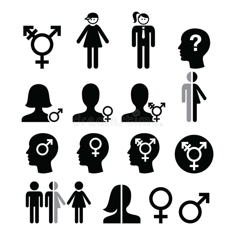 Transgender symbol, gender dysphoria, transsexual concept icons set. Transgender people, transsexualtiy icons set isolated on white vector illustration