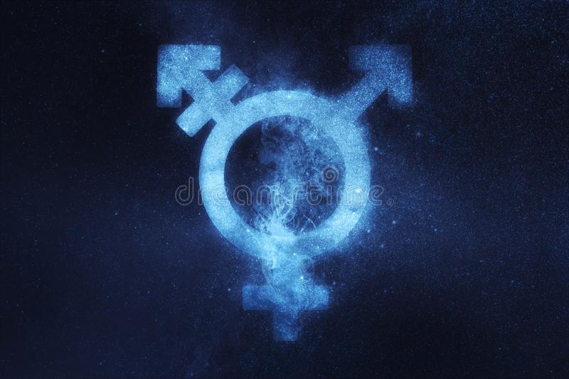 Transgender symbol. Trans gender sign. Abstract night sky backg. Round. Concept Background stock images