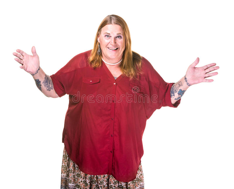 Transgender Woman in Pearl Necklace with Hands Out Wide. Transgender woman in pearl necklace on white background gesturing with hands out wide royalty free stock image