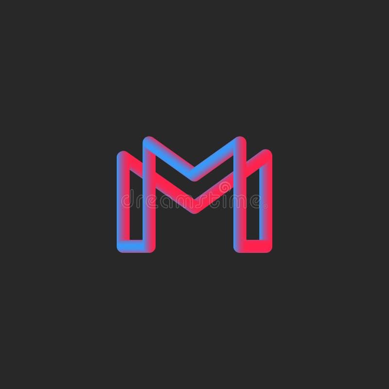 Transição da cor do inclinação do monograma 3d do logotipo da letra M Elemento vibrante do projeto do estilo mínimo da tipografia ilustração do vetor