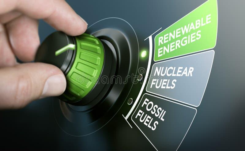 Transição da energia, energias renováveis ilustração stock