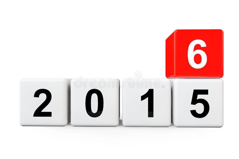 Transição do ano 2015 a 2016 ilustração do vetor