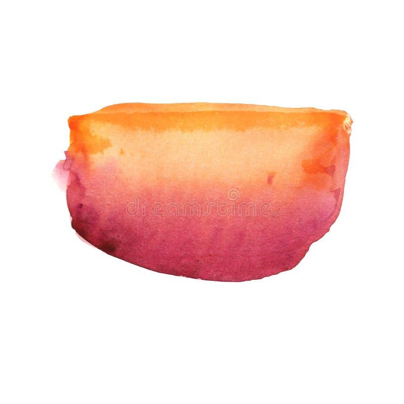 Transición anaranjada roja de la acuarela abstracta de la mancha en el fondo blanco libre illustration