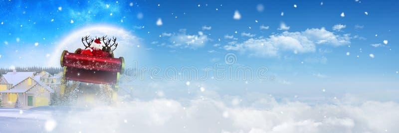 Transición del cielo del invierno del trineo y del ` s del ` s de Papá Noel del reno libre illustration