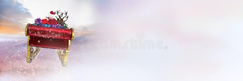 Transición del cielo nublado del trineo y del ` s del ` s de Papá Noel del reno stock de ilustración