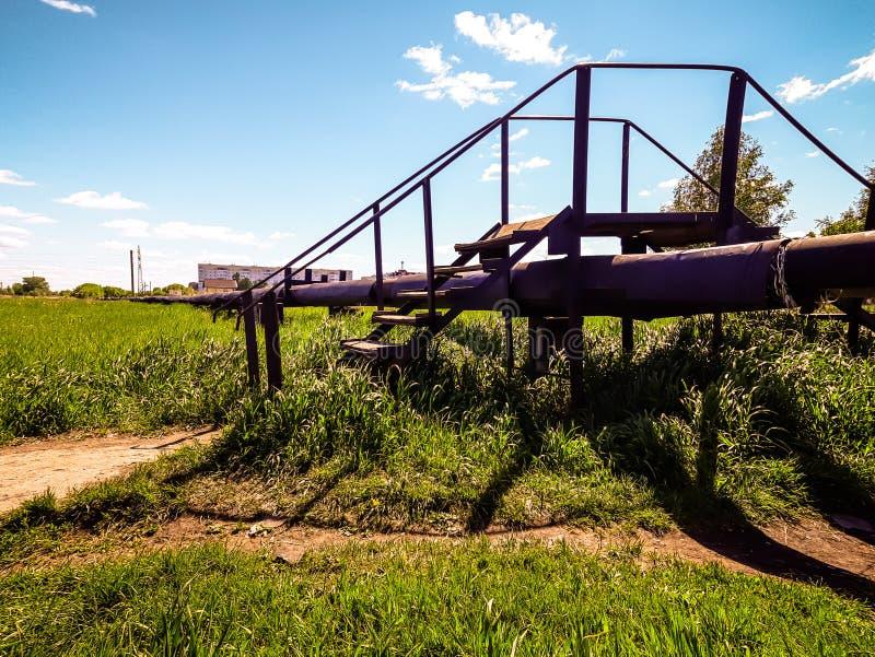 Transición, escaleras, hierba, cielo azul, línea de la calefacción, ciudad fotos de archivo