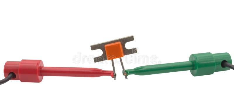 Transistor de poder e ponta de prova de medição imagem de stock