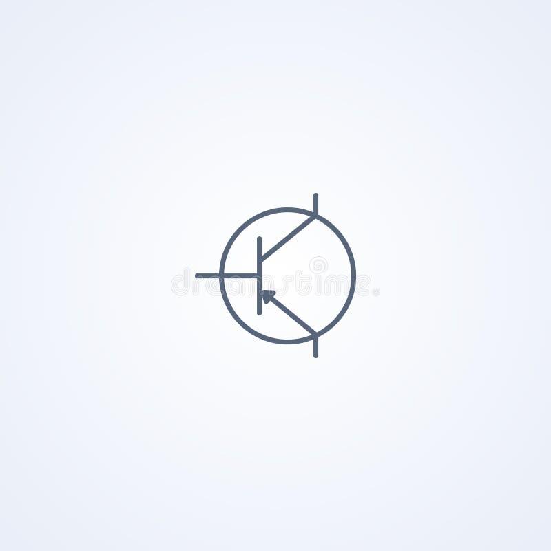 Transistor, vector beste grijs lijnsymbool vector illustratie